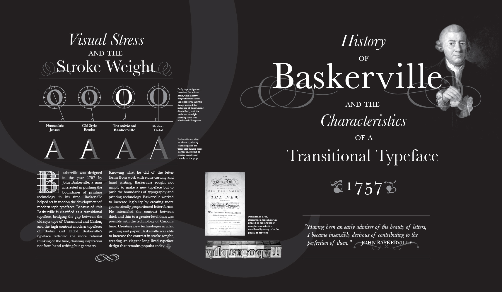 john baskerville an influential typographer essay Free essay: the transitional baskerville typeface is the result of years of formalization and innovation on the behalf of john baskerville: an influential typographer.