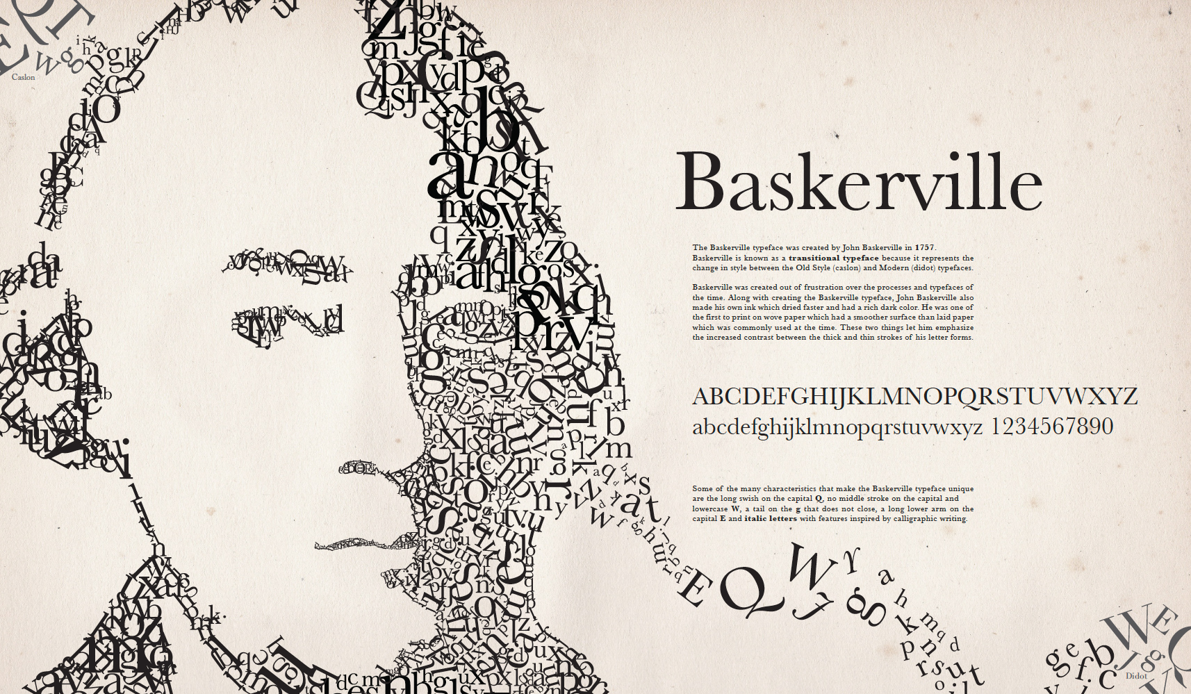 john baskerville an influential typographer essay Typeface essays & research papers  standard font was designed by isaac moore, (john baskerville)  as being an influential dutch type designer and has.