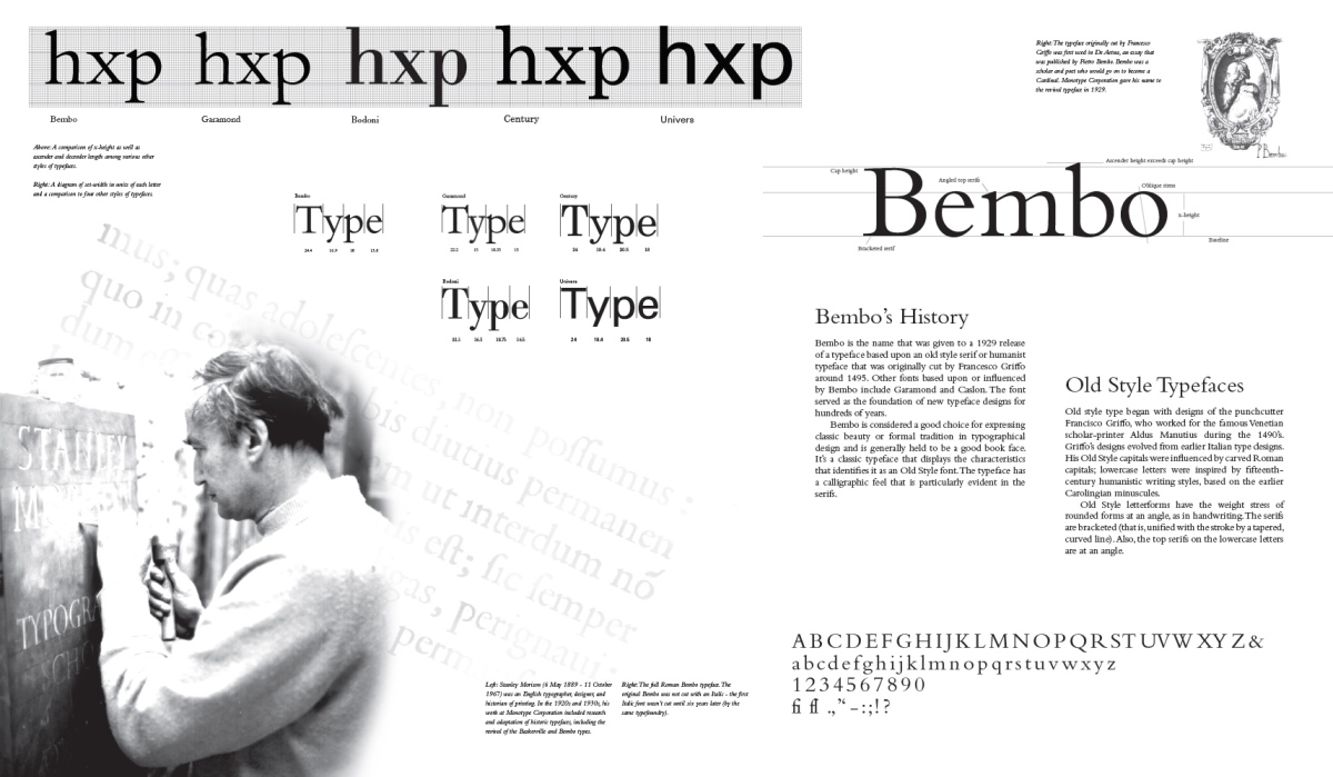 Bembo Stanley Morison (based on typeface cut by Francesco Griffo ca. 1495) 1929 Old Style revival