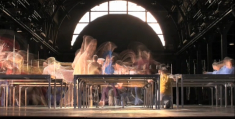 A shot of dancers performing in William Forsythe's One Flat Thing, reproduced.