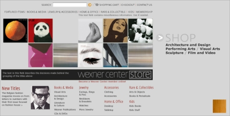 The Wexner Center Online Store interface, designed by Tim Jacoby